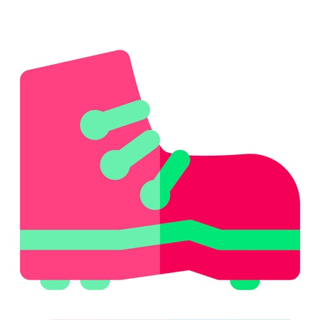 Boot icon flat style pink green