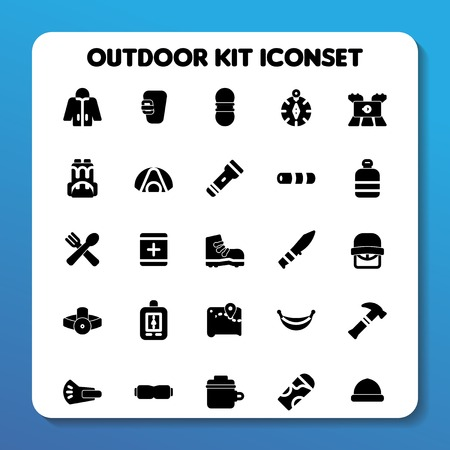Outdoor kit icon set Solid style for all your graphic design needs
