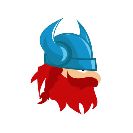 Viking head mascot isolated on white background Illustration