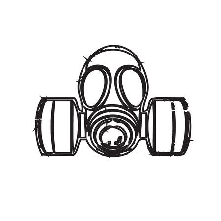 Gas mask with paint splash effect. Vector illustration Isolated on white background Illustration