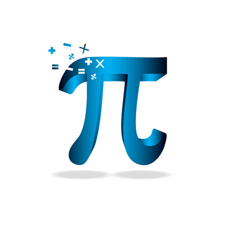 fourteen: Pi Day vector background. Mathematical constant, irrational number, greek letter. Abstract digital illustration for March 14th