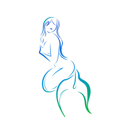 Silhouette of mermaid Illustration