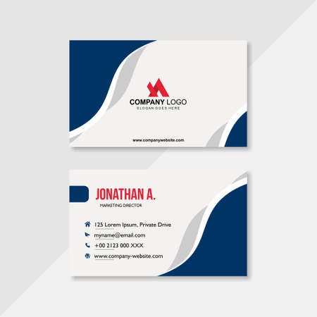 business card in blue white