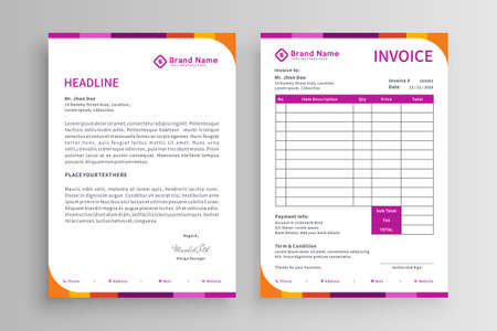 Colorful invoice and letterhead template vector design