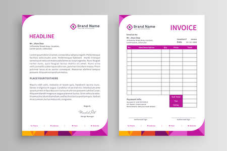 Set of invoice and letterhead template vector design