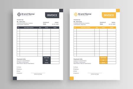 Minimalist yellow and black invoice template vector design Ilustração Vetorial