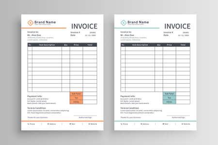 Minimalist invoice template vector design