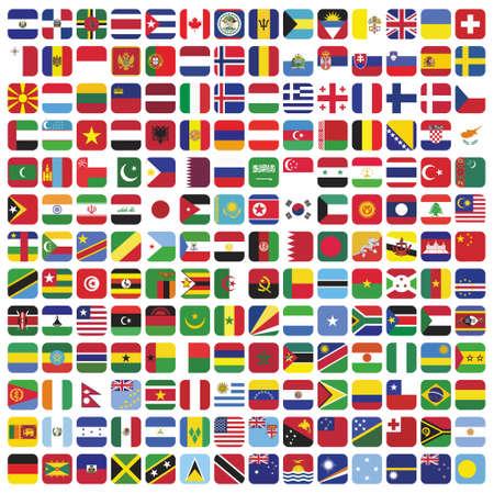 set of square flag icon set minimalist. vector illustration Vetores