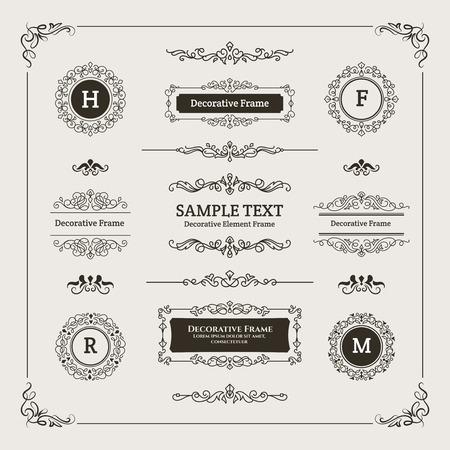 Set of Decorative Divider, Monogram, & Frame Element. For any purpose of your designs such us certificate, invitation, print designs, web designs, etc. Vetores