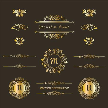 Set of Monogram & Decorative Frame Element in Gold Colors