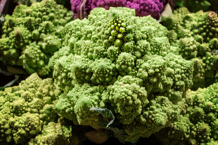 Close up of a Romanesco Cauliflower, also called romanesco broccoli, which a crazy wild looking food often used in gourmet dishes.  Isolated. Banco de Imagens