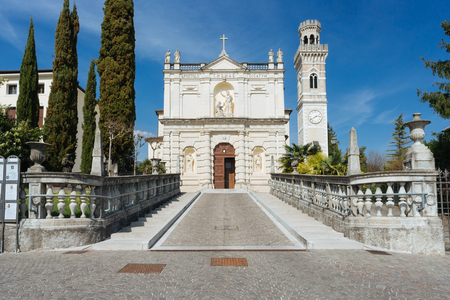 Caneva, Church of St. Thomas Apostle, in neoclassical style, located in the center of town