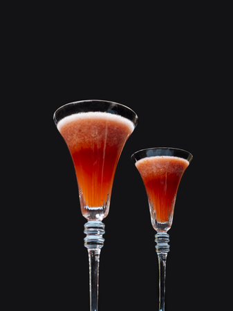 Rossini, a variant to the Italian IBA cocktail Bellini, with Prosecco or Champagne wine and strawberry