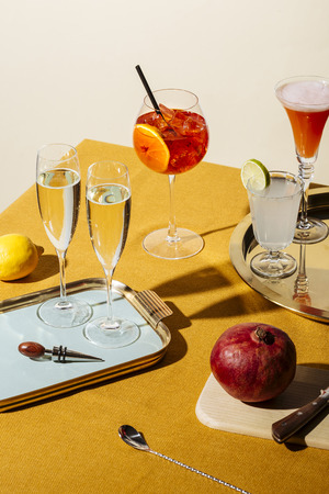 Prosecco glasses and prosecco cocktails: Tintoretto, Spritz Veneziano and Lemon Sherbed. Pop contemporary style