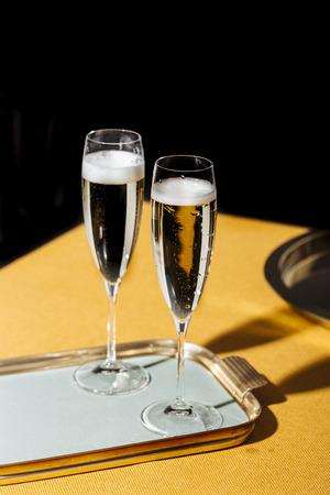 Valdobbiadene Cartizze Prosecco flutes, in pop contemporary style. Prosecco is an italian sparkling wine cultivated and produced in Valdobbiadene-Conegliano area Reklamní fotografie
