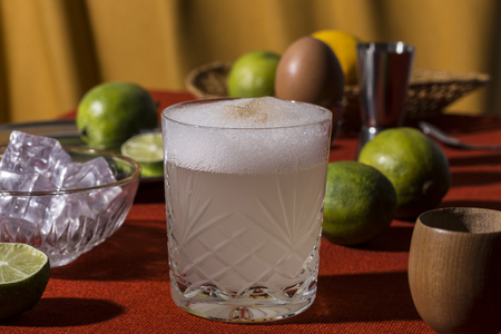 Pisco Sour, a cocktail with Pisco, lime or lemon juice, egg white, and angostura bitter in pop contemporary style.