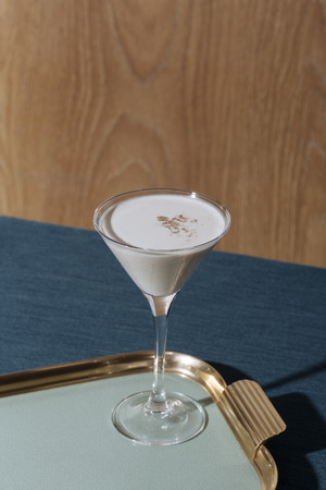 Alexander, an after dinner cocktail with gin or cognac, white creme de cacao, fresh cream and  grated nutmeg Reklamní fotografie
