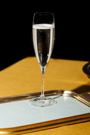 Valdobbiadene Cartizze Prosecco flutes and a bottle, in pop contemporary style. Prosecco is an italian sparkling wine cultivated and produced in Valdobbiadene-Conegliano area