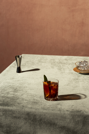 Negroni cocktail,  an Iba cocktail, with 13 gin, 13 bitter, 13 vermut, in luxury pop style, rich and colorful. Reklamní fotografie