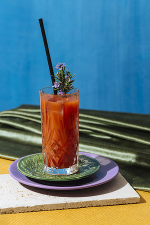 Bloody Mary is a cocktail containing vodka, tomato juice, and combinations of other spices and flavorings including Worcestershire sauce, hot sauces, garlic, herbs, and horseradish Reklamní fotografie