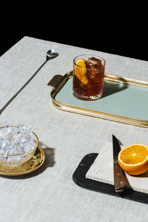 Negroni, an Italian cocktail with gin, bitter and vermouth, in luxury pop style, rich and colorful.