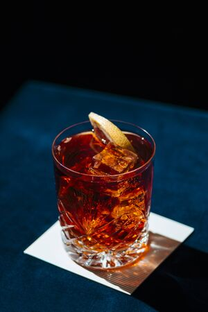 Negroni, an italian cocktail, an apéritif, first mixed in Florence, Italy, in 1919. Count Camillo Negroni asked to strengthen his Americano by adding gin rather than normal soda water. Stock fotó