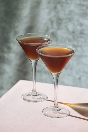 Stinger, an after dinner Cocktail with Cognac and Crème de Menthe white