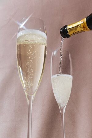 Valdobbiadene Prosecco flutes and a bottle, in pop contemporary style. Pink romantic background