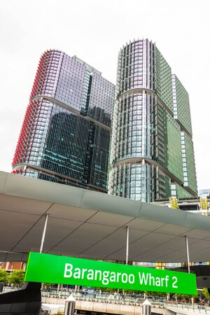 Low angle view of the International Towers in Sidney from Barangaroo Wharf, Australia