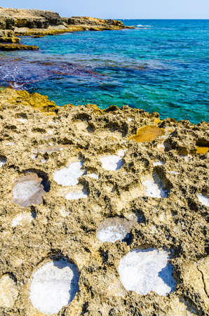 View of Marine Protected area of Plemmirio in a sunny day with blue sky, Syracuse, Sicily Archivio Fotografico