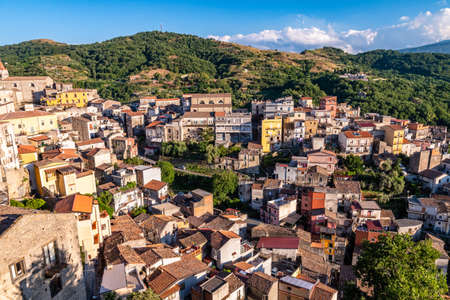 Panoramic view of Castiglione di Sicilia in a sunny summer day, Italy Stock Photo