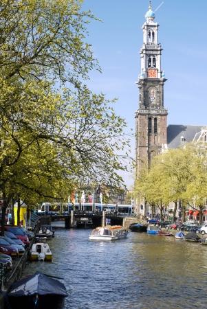 prinsengracht: Westerkerk, Prinsengracht - Amsterdam, The Netherlands -  Stock Photo