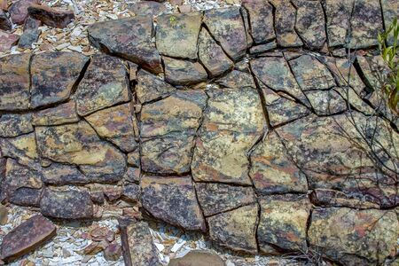 Close-up photography of sedimentary rock texture. Captured in a desert in the Andean mountains of central Colombia. Stock Photo