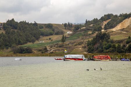 Boats moored to a wooden dock at lake Tota, the largest natural lake of Colombia, in a cloudy day with some ducks flying. The lake is located at the central Andean mountains of the country.