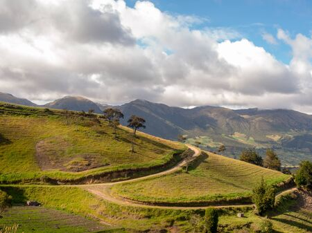 Landscape with country roads crossing the farmlands near the colonial town of Chiquiza, in the Central Boyacá Province, part of the Colombian Department of Boyacá.
