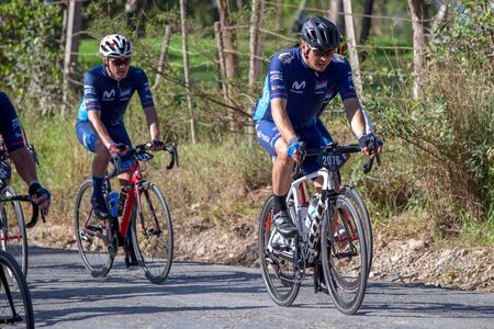 Villa de Leyva, Boyaca, Colombia - December 1, 2019:  Men and women of all ages ride bicycles during the development of the Gran Fondo Nairo Quintana cycling event, in which Nairo Quintana and Egan Bernal participated.