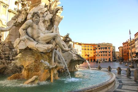 Fountain of the Four Rivers (Fontana dei Quattro Fiumi) in Piazza Navona,Rome, Italy