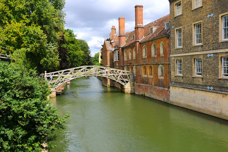 Mathematical bridge of wood at the Queens College in Cambridge, United Kingdom Stock Photo