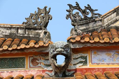 Forbidden City,roof fragment of the dragon,Hue,Vietnam