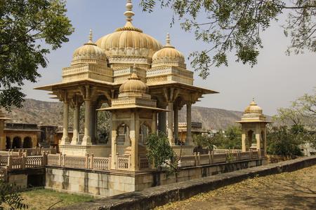 Royal cenotaphs in Jaipur, Rajasthan, India.The royal cremation territory of the dynasty Kachhawa Stock Photo