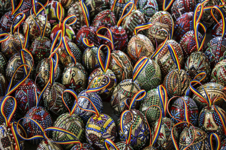 Traditional Romanian painted Easter eggs with tape from colors national flag. Romania. Europe