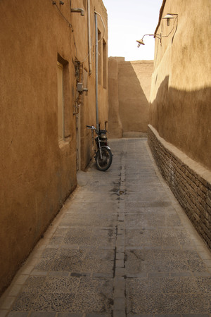 One of the streets of the old city of Yazd, Iran. Stock Photo