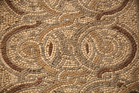 Ancient floor Byzantine mosaic from the churches of the city of Madaba, Jordan