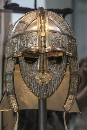 LONDON, ENGLAND - AUGUST 02, 2015: Ceremonial helmet from the Sutton Hoo, mound