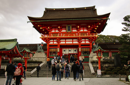 KYOTO, JAPAN - APRIL 02, 2019: Fearimi Inari Taisha Shrine visit Kyoto, Japan