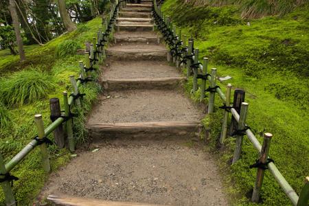 Ladder and railing of bamboo in Garden Kenrokuen in Kanazawa, Japan
