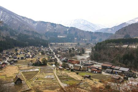 Panoramic view of historic Shirakawa-go village in spring.  Japan