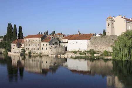 Beautiful view old historical part of the city Trebinje and Trebisnjica river, Trebinje, Bosnia and Herzegovina
