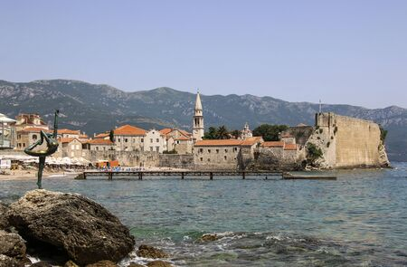Panoramic view of the old town Budva, one of medieval cities on Adriatic sea, Montenegro 写真素材