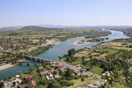 View of Drin River and Skhoder City from Rozafa Castle. Albania. Europe.